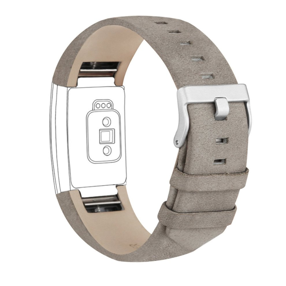 Fitbit Charge 2 Strap Leather Band, Adjustable Replacement Straps-Matte grey