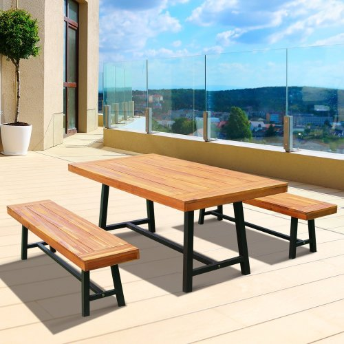 Outsunny Garden 3 Pieces Acacia Wood Picnic Table and 2 Benches Set Dining Furniture