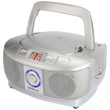 Groov-e Mini Boombox Portable CD Player with FM Radio - Silver (Model GVPS723SR)
