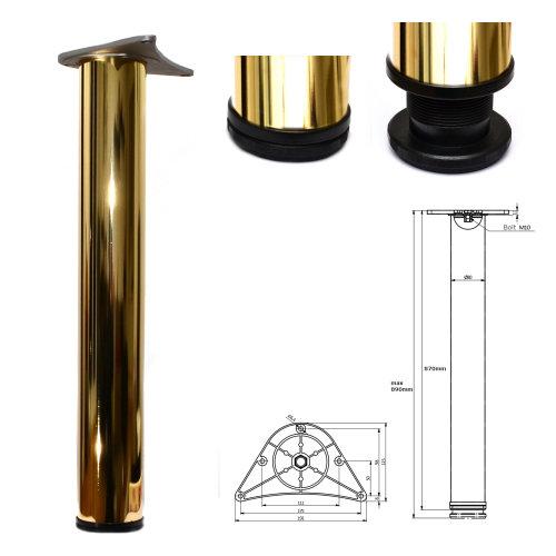 870mm Adjustable Gold Breakfast Bar Worktop Support Table Leg ø80mm