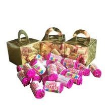 12 Boxes of Mini Love Hearts Filled Holographic Star Gold Cube Balloon Weight Favour Boxes
