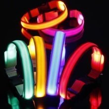 Adjustable Led Flashing Light Safety Dog Puppy Collar with Buckle and Clip Lead