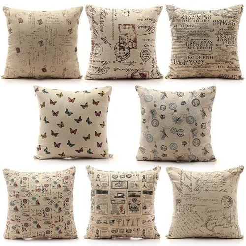 Vintage Shabby Chic Linen Pillow Case Home Bed Decor Cushion Cover