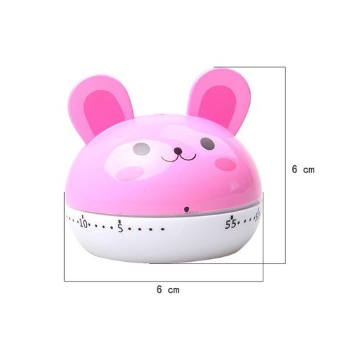 "[PINK MOUSE]2.6""Cute Mechanical Movement Kitchen Timer/Reminder-60 Minutes"