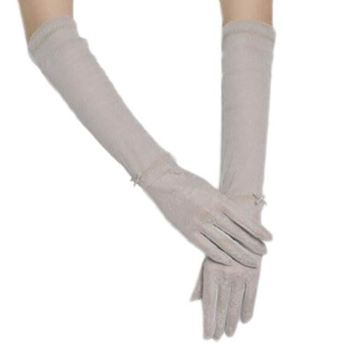 New Lace Outdoor Sunscreen Clothing Women Gloves Breathable Thin Sun Protective Sleeves-Gray