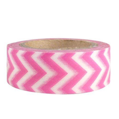 Wrapables Striped Japanese Washi Masking Tape Pink Short Chevron
