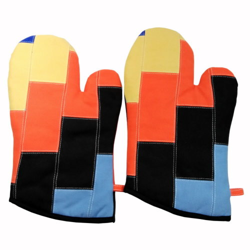 [Quartet] Heat Resistant Patchwork Oven Gloves/Micro-oven Mitts 2-Pack