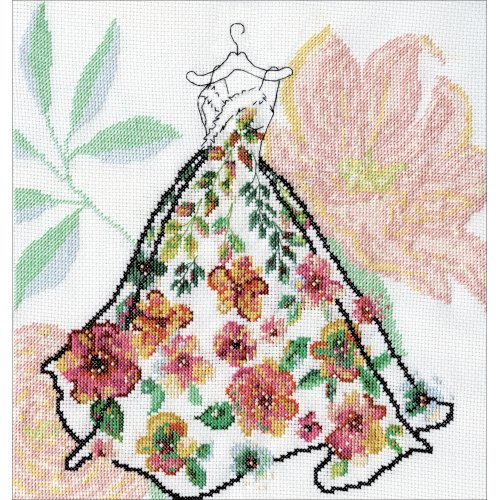 """Design Works Counted Cross Stitch Kit 10""""X10""""-Ball Gown (14 Count)"""