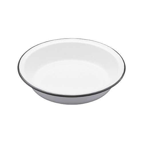 Kitchen Craft 22.5 x 4 cm Living Nostalgia Enamel Round Pie Dish, White/Grey