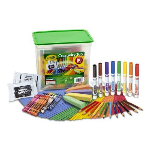 Crayola Creativity Tub Over 80 Art Tools Crayons Markers Colored Pencils Construction Paper and More Makes a Great Gift
