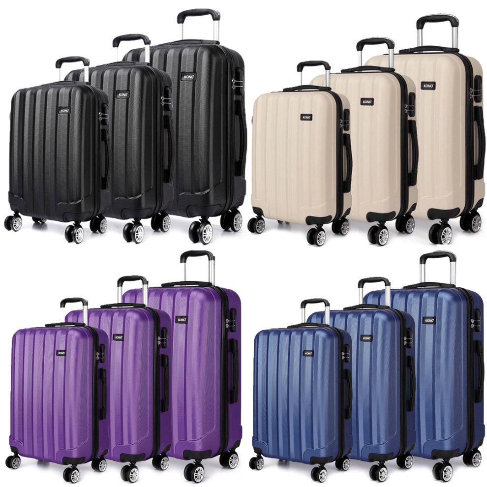 e7fd6eaff915 KONO 3PCS Travel Luggage Suitcase Trolley Case Travel Bag 20 24 28 Inch