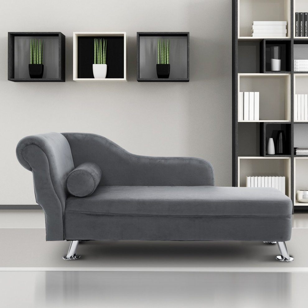 Homcom Grey Chaise Longue Sofa Amp Bolster Cushion On Onbuy