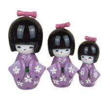 3 Pcs Lovely Japanese Kimono Girl Wooden Dolls With Cherry Blossoms, Purple
