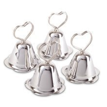 Set of 4 Heart Shaped Silver Metal Christmas Table Place Name Card Holders