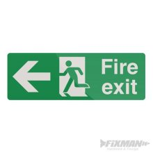 400mm x 150mm Fire Exit Left Arrow Sign - Selfadhesive Fixman 400 292166 -  fire exit arrow left sign 150mm selfadhesive fixman 400 292166