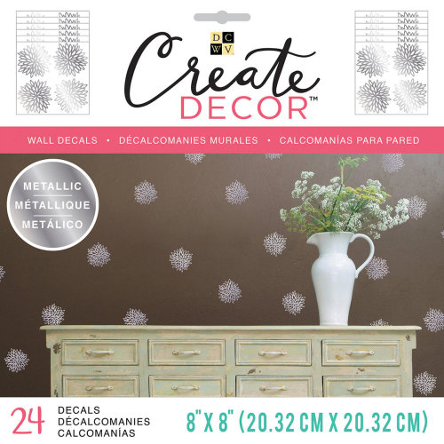 """Dcwv Create Decor Removable Wall Decals 8""""X8""""-Chrysanthemum, 6 Sheets"""