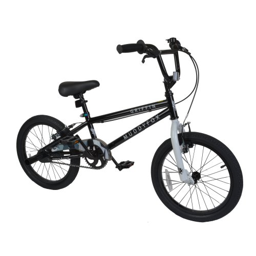 "Muddyfox Griffin 18"" BMX Bike with Stunt Pegs in Black and White"