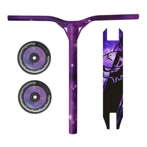 Combo Scooter Galaxy Purple Bars Handlebars + Grip Tape + Wheels 100mm
