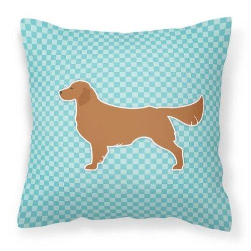 Carolines Treasures BB3704PW1414 Golden Retriever Checkerboard Blue Fabric Decorative Pillow