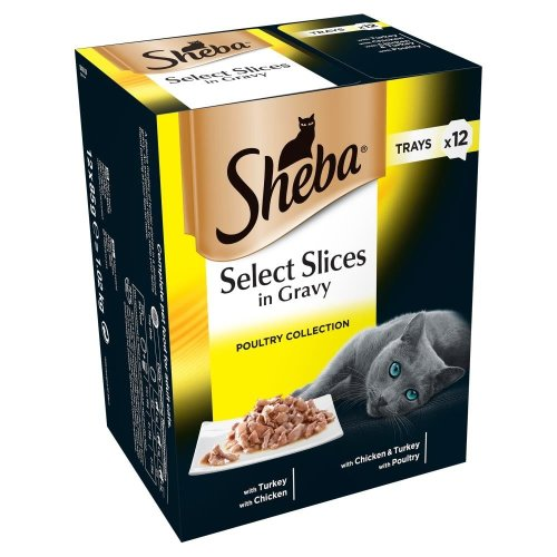 SHEBA Select Slices Cat Trays Poultry Collection In Gravy 12x85g (Pack of 4)