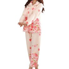 Casual Pajama Set Warm Sleepwear Home Apparel Flannel Pajamas X-large-A13