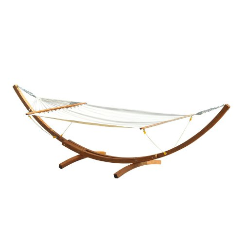 Outsunny Cream Hammock With Wooden Arc Frame