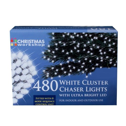 The Christmas Workshop Xmas 480 LED Bright Chaser Cluster String Lights, White