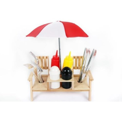 Outdoor Umbrella Picnic Bench Condiment Holder Cutlery Set Salt And Pepper Shakers