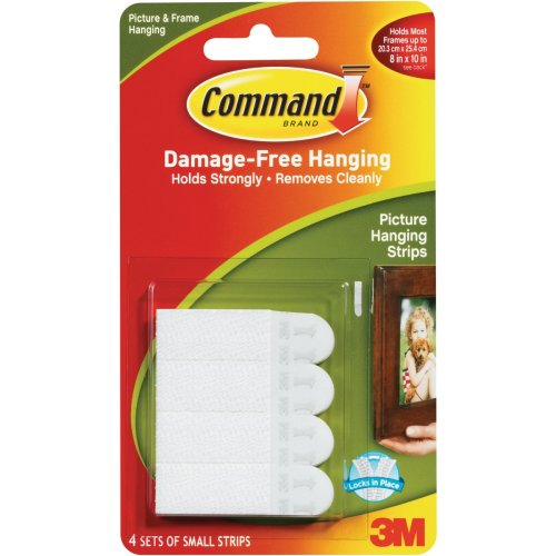 Command Small Picture Hanging Strips-White 4 Sets/Pkg