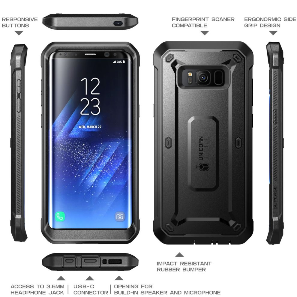 brand new 406aa a5204 Samsung Galaxy S8 Case, SUPCASE Full-body Rugged Holster Case with Built-in  Screen Protector for Galaxy S8 (2017 Release), Not Fit Galaxy S8 Plus,...
