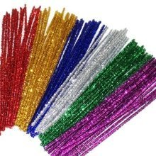 100 Tinsel Pipe Cleaners 30cm x 6mm Assorted Colours