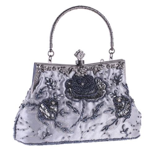 Women's Vintage Style Clutch Evening Bag Elegant Beaded Shoulder Bag Luxurious Handbag Purse,J