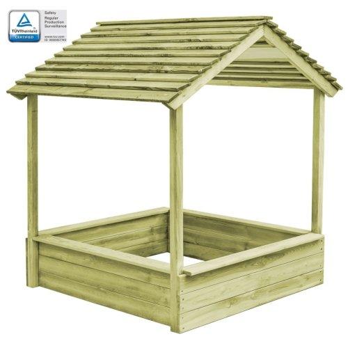 vidaXL Outdoor Playhouse with Sandpit 128x120x145 cm FSC Pinewood