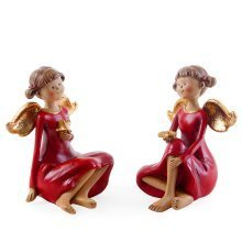 Set of Two Sitting Christmas Fairy Ornaments
