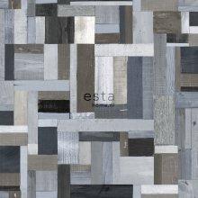 HD non-woven wallpaper scrap wood blue and gray