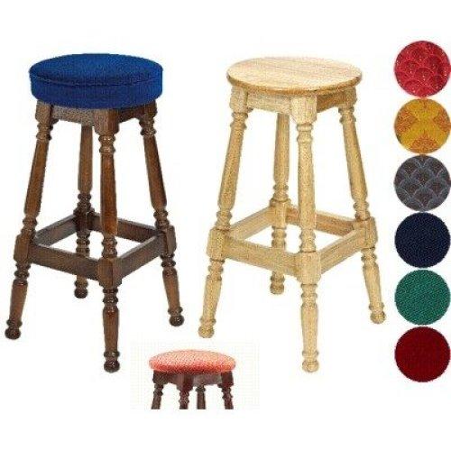Tamara Wood Bar Stool - Padded / Unpadded Burgundy Fabric Button Seat Light Oak