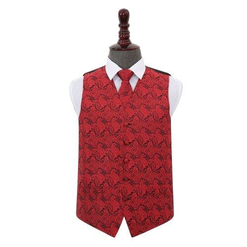 Black & Red Paisley Wedding Waistcoat & Tie Set 44'