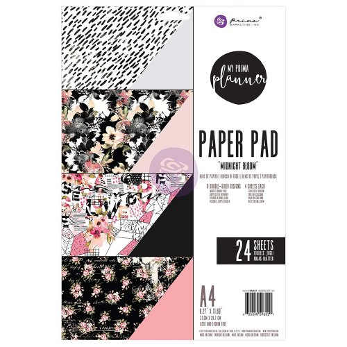 My Prima Planner Double-Sided A4 Paper Pad 24/Pkg-Midnight Bloom, 6 Designs/4 Each