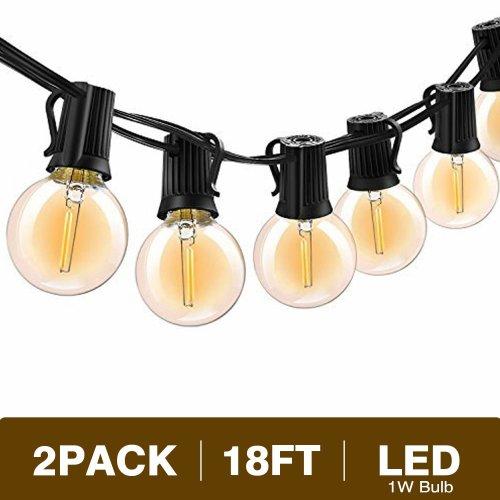 Svater G40 Led String Lights 18ft 10 Hanging Socket With Globe Vintage Bulb 1w 2700k Warm White Ip45 Waterproof Indoor Outdoor Light On