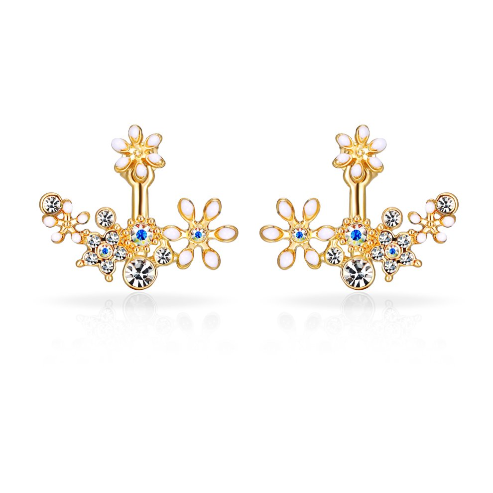 08c39b8bf Gold Plated White Flower Jacket Earrings Created with Swarovski Crystals on  OnBuy