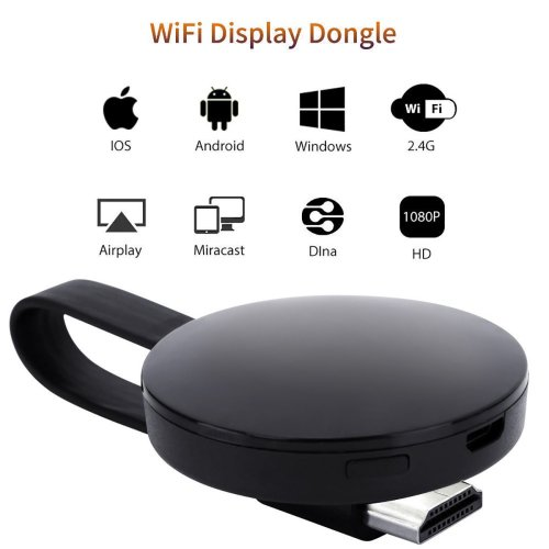 ATETION 2018 WiFi Wireless 1080P Mini Display Receiver Black