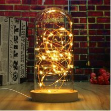 Creative Wood Glass LED Night Light Table Lamp Decoration Gift 220V Round