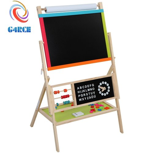 G4RCE KIDS CHILDRENS WOODEN 3 IN 1 BLACKBOARD WHITEBOARD & PAPER ROLL EASEL CHALK DRAWING BOARD