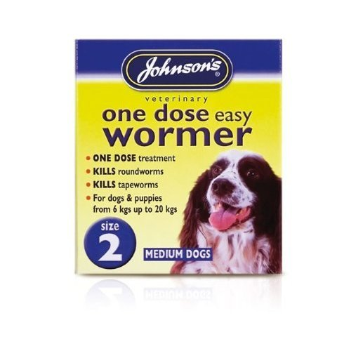 Johnson's One Dose Easy Wormer Dogs Up To 6-20kg SIZE 2 (TP)(JEDWM/BLUEPACK)