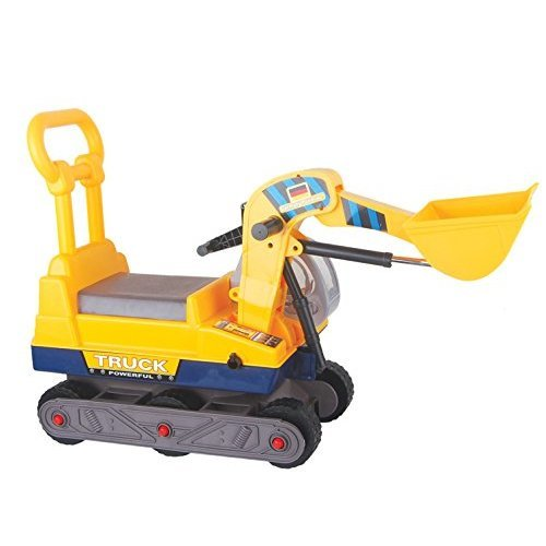 Vroom Rider 6-Wheel Bulldozer Ride-On with Back, Yellow