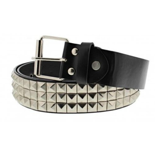 Unisex 3 Row Pyramid Studded Silver Belt Punk Goth One Size