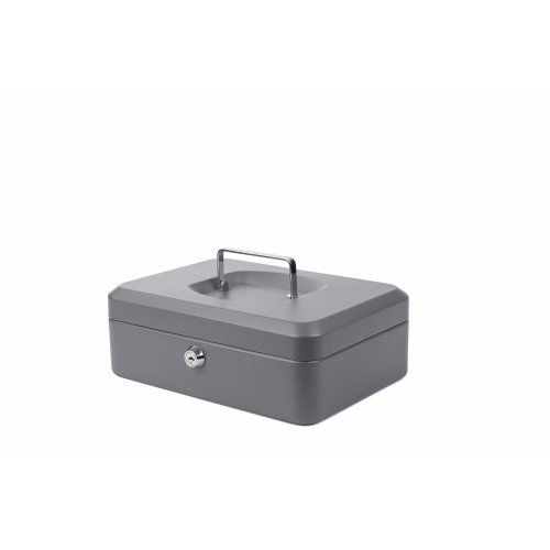 PAVO Premium 10-Inch Metal Cash Box with 2 Keys and Removable Change Tray - Dark Grey
