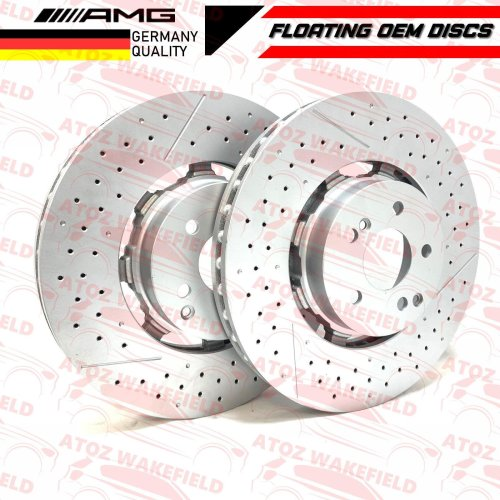 FOR MERCEDES C63 E63 CLS63 AMG FRONT DRILLED GROOVED FLOATING BRAKE DISCS PAIR