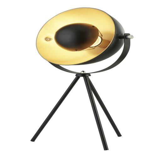 Searchlight Blink 1 Light Tripod Table Lamp Matt Black With Gold Shade Interior