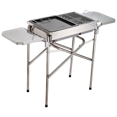Outsunny Stainless Steel Pedestal Barbecue | Foldable Charcoal BBQ